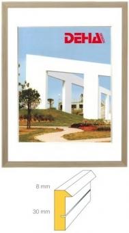 Holz-Bilderrahmen DEHA Profil B30 - 24 x 30 cm Kiefer weiß lasiert | Museumsglas Flabeg UV 60