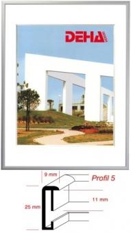 Alu-Bilderrahmen DEHA Profil 5 - 35 x 50 cm Silbergrau RAL 7001 | Museumsglas Flabeg UV 90