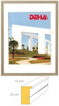 Holz-Bilderrahmen DEHA Profil A25 - 24 x 30 cm Kiefer natur unbehandelt | Museumsglas Flabeg UV 60