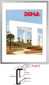 Alu-Bilderrahmen DEHA Profil 3 - 45 x 60 cm Platin matt | Museumsglas Flabeg UV 90
