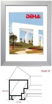 Alu-Bilderrahmen DEHA Profil 72 - 42 x 59.4 cm - DIN A2 Contrastgrau matt | Museumsglas Flabeg UV 90
