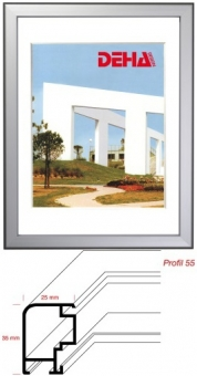 Deha Aluminium Distanz-Bilderrahmen Profil 55 weiß | Museumsglas Flabeg UV 90