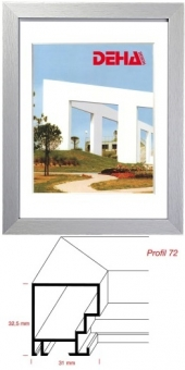 Alu-Bilderrahmen DEHA Profil 72 - 60 x 70 cm Alu Natur matt gebürstet   Museumsglas Flabeg UV 60
