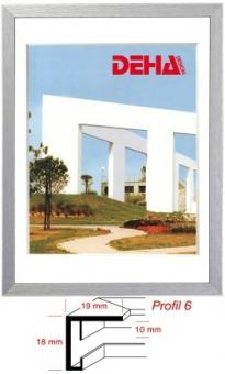Alu-Bilderrahmen DEHA Profil 6 - 50 x 50 cm - quadratisch Hellblau gebürstet | Acrylglas entspiegelt
