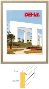 Holz-Bilderrahmen DEHA Profil B30 - 29.7 x 42.0 cm - DIN A3 Kiefer natur lasiert   Museumsglas Flabeg UV 90