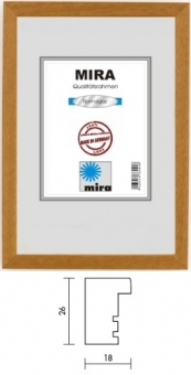 Holz-Bilderrahmen Mira Profil 58 - 29.7 x 42.0 cm - DIN A3 silber | Normalglas