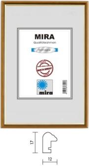 Holz-Bilderrahmen Mira Profil 23 - 28 x 35 cm blau - gold   Kunstglas
