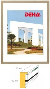 Holz-Objektrahmen DEHA Profil A30 - 20 x 28 cm Esche weiß lasiert | Museumsglas Flabeg UV 90