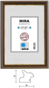 Holz-Bilderrahmen Mira Profil 21 - 29.7 x 42.0 cm - DIN A3 nußbraun - gold | Kunstglas