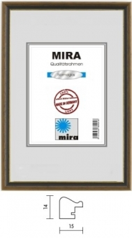 Holz-Bilderrahmen Mira Profil 22 - 18 x 24 cm nußbraun - gold   Kunstglas