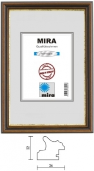 Holz-Bilderrahmen Mira Profil 21 - 25 x 35 cm grün - gold | Normalglas