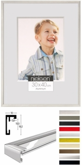 Alu-Bilderrahmen Nielsen C2 - 30 x 30 cm - quadratisch Reflex Silber