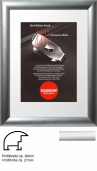 Alu-Bilderrahmen Roggenkamp Profil B - 60 x 60 cm - quadratisch natur (Silber matt)   Normalglas 3 mm