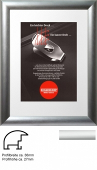 Alu-Bilderrahmen Roggenkamp Profil B - 40 x 60 cm natur (Silber matt) | Normalglas 3 mm