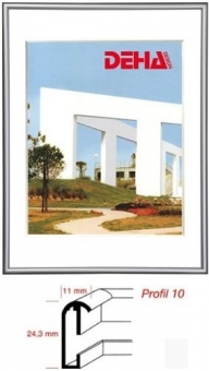 Alu-Bilderrahmen DEHA Profil 10 - 30 x 30 cm - quadratisch Contrastgrau glanz   Refloglas