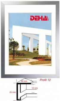 Alu-Bilderrahmen DEHA Profil 12 - 45 x 60 cm Alu Natur matt   Refloglas