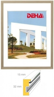 Holz-Bilderrahmen DEHA Profil 1532 - 21 x 29.7 cm - DIN A4 Buche in Holzton Wenge   Museumsglas Flabeg UV 60