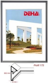 Alu-Bilderrahmen DEHA Profil 173 - 21 x 29.7 cm - DIN A4 Contrastgrau matt | Museumsglas Flabeg UV 60