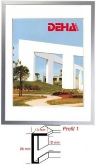 Alu-Bilderrahmen DEHA Profil 1 - 50 x 65 cm Platin matt   Normalglas