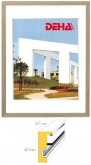 Holz-Objektrahmen DEHA Profil 2042 - 50 x 65 cm Buche weiß deckend   Museumsglas Flabeg UV 90
