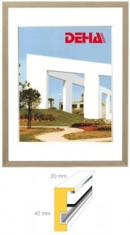 Holz-Objektrahmen DEHA Profil 2042 - 45 x 60 cm Buche weiß deckend | Museumsglas Flabeg UV 60