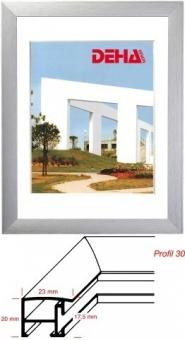 Alu-Bilderrahmen DEHA Profil 30 - 42 x 59.4 cm - DIN A2 Alu Natur matt | Museumsglas Flabeg UV 90