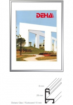 Alu-Bilderrahmen DEHA Profil 50 - 45 x 60 cm Champagner matt | Museumsglas Flabeg UV 90