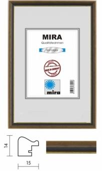 Holz-Bilderrahmen Mira Profil 22 - 30 x 40 cm nußbraun - gold | Antireflexglas