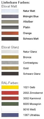 DEHA-Wechselrahmen Farbübersicht Profil 10