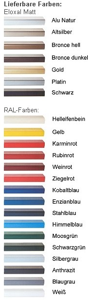 DEHA-Wechselrahmen Farbübersicht Profil 3
